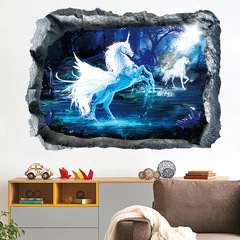 Hoki 3D paint broken wall stickers for Theme hotel children's room decoration Decor Removable Magical unicorn 50*70 CM