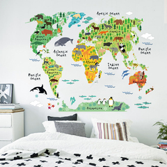 Colorful Animals World Map PVC Cartoon Wall Sticker For Kids Room Home Decor Living Room Stickers Animal World Map 60*90 cm