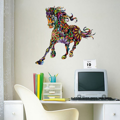 Wild Colorful Floral Pentium Horse Wall Stickers Abstract animal Pattern Room Removable Decal Pentium horse 60*90 cm