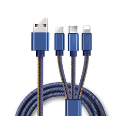 3 In 1 Type C/8 Pin/Micro USB Fast Charger Cable For iPhone Charging For Android Huawei Charger Cord Denim Blue one size/120cm