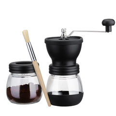 Manual Coffee Grinder with Storage Jar Soft brush Conical Ceramic Burr Quiet and Portable Black One size