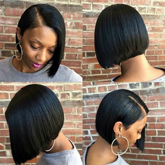 Bob Wigs Short Straight Hair Lace Front Wig High temperature synthetic wire wigs For Women as pictures 26cm 100g