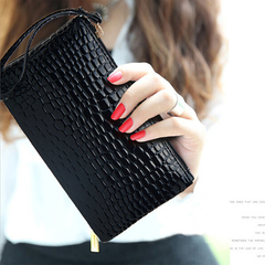 Women Crocodile PU Leather Wallet Casual Money Purse Female Clutch Handbag Coin Ladies Long Bag Black 18cm×11cm x1cm