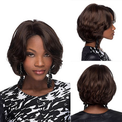 Women Short Wigs Buckle Inside Rose Lace Synthetic Fiber Wig Fluffy Wavy Curly Hair Wig Hat As pictures 26cm 120g