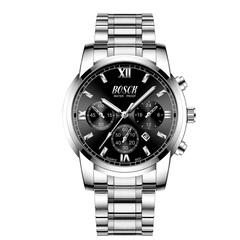 Steel Case Watch Men Steel Strap Multi-function Wristwatch Male Business Waterproof Quartz Watch Silver black one size