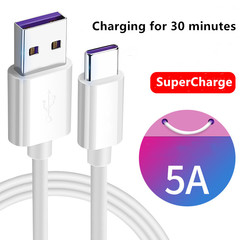 1m USB Cable 5A Supercharge USB Type-C Cable for Huawei Quick Charging Fast Charger Cable white one size/100cm