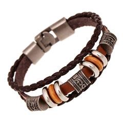 Punk Bracelet Men Casual Handmade Beaded Bracelets Easy Hook Brown Leather Hand Braided Vintage one color one size