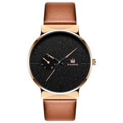 Men's Quartz Watch Leather Simple Trend Watch Men's Watch Gift Brown belt gold shell One size