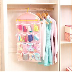 16 Grids Clear Hanging Bag Underwear and Socks Storage Organizers Storage Bags Storage Boxes Pink