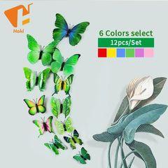 12pcs/set 3D Butterfly wall Stickers PVC Colorful Butterflies decor art Decals DIY home Decoration Green 12pcs/set