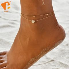 Female Anklets Barefoot Crochet Sandals Foot Jewelry Foot Ankle Bracelets For Women Leg Chain Gold-Heart One size