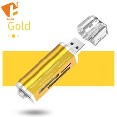 Multi All in 1 Micro USB 2.0 Memory Card Reader Adapter for Micro SD SDHC TF M2 MMC MS PRO DUO Gold USB 2.0 Normal 4 in 1