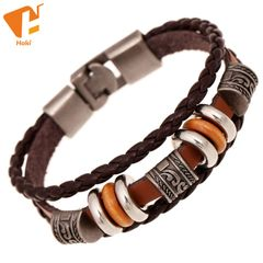 Punk Bracelet Men Casual Handmade Beaded Bracelets Easy Hook Brown Leather Hand Braided Vintage one color one size
