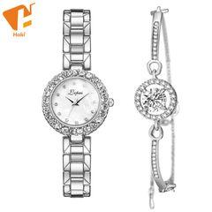 2PCS/Set Watch Elegant Simple Rhinestone Women Watches Metal Alloy Ladies Watch Jewelry Luxury Watch Sliver white One size