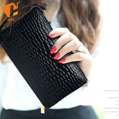 Women Crocodile PU Leather Wallet Casual Money Purse Female Clutch Handbags Coin Ladies Long Bags Black 18cm×11cm x1cm