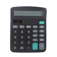 Calculator Office Calculate Commercial Tool Solar Battery Powered 12 Digit Electronic Calculatory Black