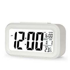 LED Digital Alarm Clock Display with Temperature Calendar Snooze Function Clocks for Home Office White