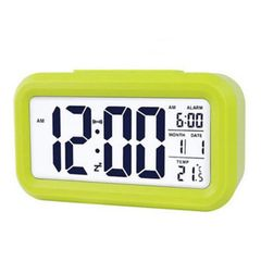 LED Digital Alarm Clock Display with Temperature Calendar Snooze Function Clocks for Home Office Green