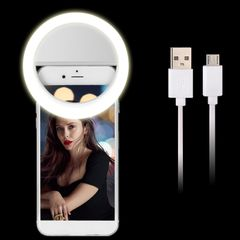 USB Charge Selfie Portable Flash Led Camera Phone Photography Ring Fill Light Enhancing Photography White