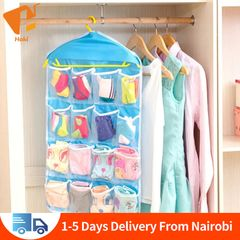 16 Grids Clear Hanging Bag Underwear and Socks Storage Organizers Storage Bags Storage Boxes Blue