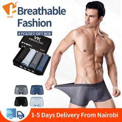 4 pcs/lot men's underwear ice silk breathable and comfortable Modal mesh boxer briefs Panties Deep Gary&Blue&Black&Grey Blue L