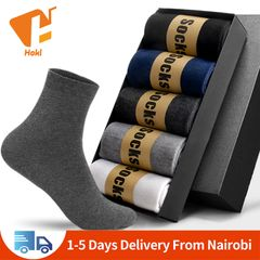 5 Pairs Men's Socks Casual Business Socks For Men Cotton Elastic Socks Quick Drying Mid Tube Sock 5 Pairs Mix color Mid Tube Sock EU 39-45
