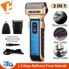 3 in 1 Electric Shaver Dual Power Supply Nose Hair Trimmer Rechargeable Shaving Razor Pop-up Trimmer Blue 6.2*15.5cm
