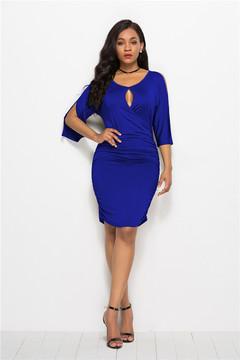 2019 Summer New Big Size Women's Skirt Sexy V-Neck Dress m blue