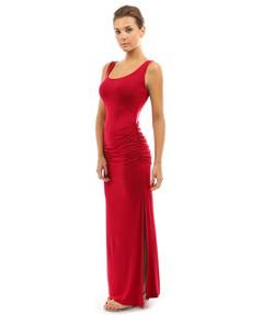 Sumer dress Collar trim Folded hip skirt sleeveless swing split  dress s red