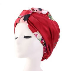 Women fashion hat summer head scraf night cap colorfull hair hat wine red