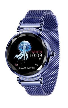 Fashion Bracelet Woman H2 Heart Rate Blood Pressure Monitor Waterproof magnetic mesh watch blue normal size
