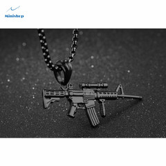 Men's Necklace Stainless Steel Rifle Man Pendant Necklace Hip Hop Shirt Accessories Jewelry Gift black 60 cm
