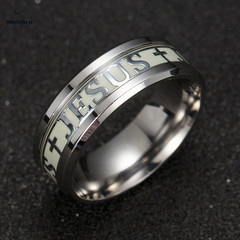 Men's Ring New Fashion JESUS Glow-in-the-dark Ring Hot Style T-shirt Accessories Jewelry Gift silver 6