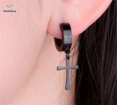 Women and Men Earring Punk Style and Hip Hot Earrings Cross Stud Pesonality Earring One Piece black one size