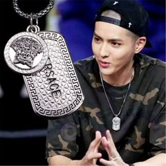 Men's Necklace Hip-hop Street Pendant Fashion Accessories Sweater and T-shirt Chain Jewelry Gift silver 60 cm