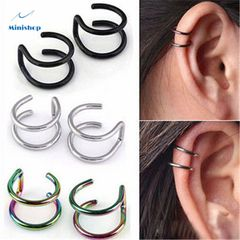 Men and Women Fashion Double C Cartilage Earrings U-shaped Ring Ear Nose Clip Lip Clip Jewelry silver 8mm