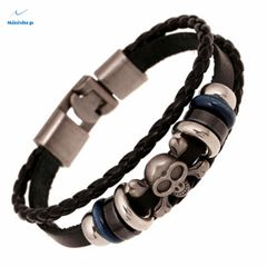 Men and Women Punk Bracelet Hand-made Retro Leather Bracelet Casual T-shirt Tewelry Accessories Black one size