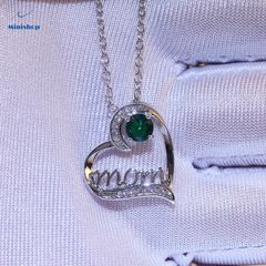 MOM Heart-shaped Diamond Women Necklace Plated With Gold Mother Birthday Pendent Jewelry Accessories Green one size
