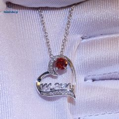 MOM Heart-shaped Diamond Women Necklace Plated With Gold Mother Birthday Pendent Jewelry Accessories Red one size