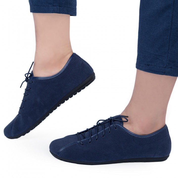 Casual Men Breathable Leather Shoes Blue 44