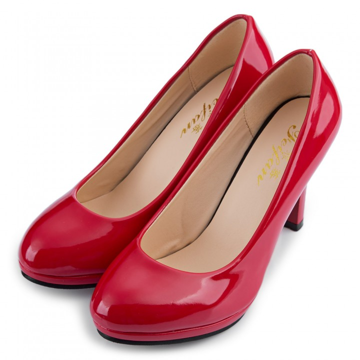 Elegant Ladies Solid Color Shallow Mouth Round Toe Patent Leather Thick High Heel Shoes Red 37