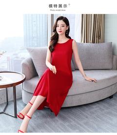 Red silk dress waist show slim long solid color mulberry silk skirt xl red