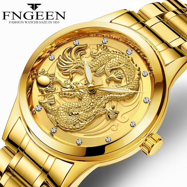 FNGEEN Luxury gentleman's Watch Quartz Watch for Men Stainless Steel Wristwatches Golden one size