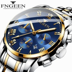 FNGEEN Luxury gentleman's Watch Quartz Watch for Men Stainless Steel Wristwatches Noctilucent color strap-blue one size