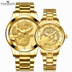 FNGEEN Luxury 2 PCS Set Couples Wrist Watches Lovers Waterproof Quartz Luminous watch for Men Women Golden 2pcs one size