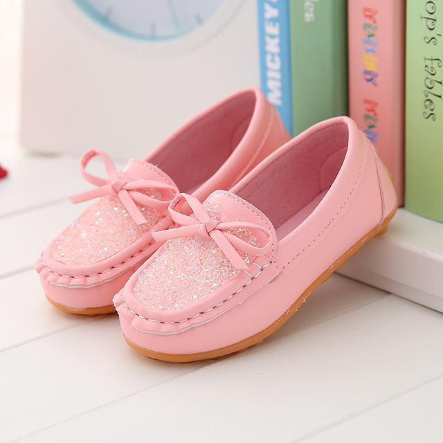 Fashion Children Shoes for Girls Kids Casual Sneakers PU Leather Baby Princess kids shoes pink 28