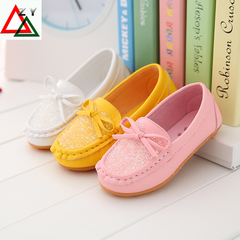 Fashion Children Shoes for Girls  Kids Casual Sneakers PU Leather Baby Princess  Shoes yellow 21