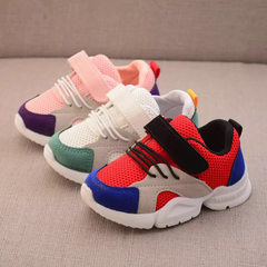 Children boys sneakers girls sport shoes kids leisure trainers casual shoes mesh fabric breathable red 26