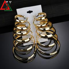 6 Pairs/Set Earrings Jewelry Women Fashion Accessories Ladies Loop Earrings Hoop earrings golden one size