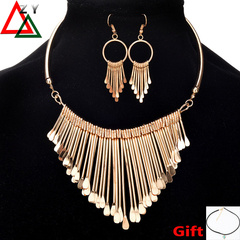 Fashion Honorable Women Necklace Earrings set Ladies Luxury Jewellery Accessroies Metal Style golden one size